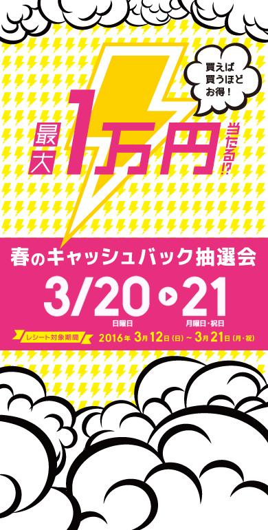 春の名物20日、21日 BIG STEP 1万円キャッシュバックやります!